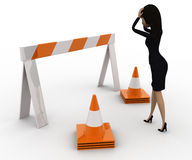 3d woman confused and in tension while looking at traffic barrier and cone concept Stock Photo