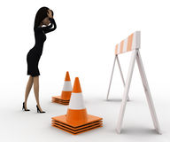 3d woman confused and in tension while looking at traffic barrier and cone concept Stock Images