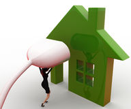 3d woman connect plug to green home concept Stock Photo