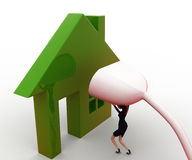 3d woman connect plug to green home concept Stock Images