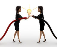 3d woman connect wire and light bulb concept Stock Image