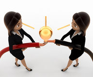 3d woman connect wire and light bulb concept Royalty Free Stock Images