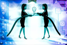 3d woman connect wire and light bulb illustration Royalty Free Stock Images