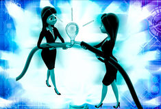 3d woman connect wire and light bulb illustration Stock Photos
