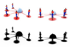 3d woman connectivity concept Collections With Alpha And Shadow Channel Stock Photo