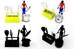 3d woman cooking Concept Collections With Alpha And Shadow Channel Stock Photos