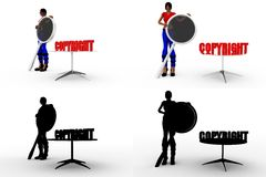 3d woman copyright Concept Collections With Alpha And Shadow Channel Royalty Free Stock Photo