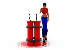 3d woman crackers concept Stock Photos