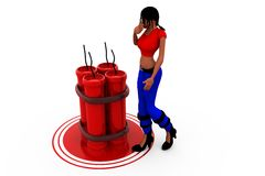 3d woman crackers concept Royalty Free Stock Photography