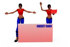 3d woman credit card concept Royalty Free Stock Photography