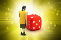 3d woman with cube Royalty Free Stock Photo