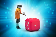 3d woman with cube Stock Image