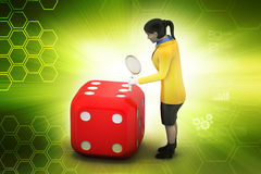 3d woman with cube Stock Images