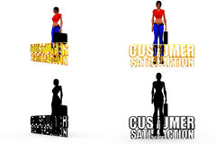 3d woman customer satisfaction concept Collections With Alpha And Shadow Channel Royalty Free Stock Image