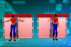 3d woman customer support illustration Royalty Free Stock Photography
