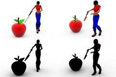 3d woman cut apple Concept Collections With Alpha And Shadow Channel Royalty Free Stock Photography
