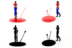 3d woman dartboard concept Collections With Alpha And Shadow Channel Stock Image