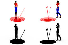 3d woman dartboard concept Collections With Alpha And Shadow Channel Stock Photography