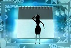 3d woman deadline illustration Royalty Free Stock Images
