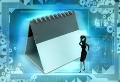 3d woman deadline illustration Royalty Free Stock Image