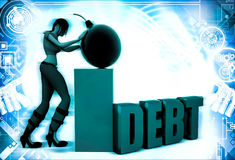 3d woman with debt bomb illustration Royalty Free Stock Photography