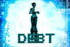 3d woman debt text illustration Royalty Free Stock Photo