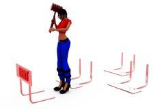 3d woman dept concept Royalty Free Stock Photos