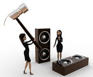 3d woman destroy music speaker with big hammer concept Royalty Free Stock Images