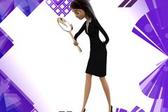 3d character detective - searching with a magnifier illustration Stock Photos