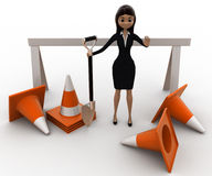 3d woman with diiger tool and traffic cones to stop concept Royalty Free Stock Photography