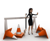 3d woman with diiger tool and traffic cones to stop concept Royalty Free Stock Image