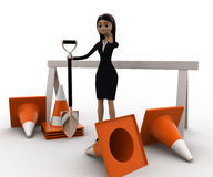 3d woman with diiger tool and traffic cones to stop concept Royalty Free Stock Photos