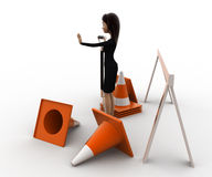 3d woman with diiger tool and traffic cones to stop concept Stock Photo