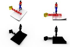 3d woman docement Concept Collections With Alpha And Shadow Channel Royalty Free Stock Photography