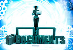 3d woman documents and folder illustration Stock Photography