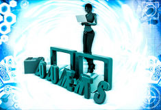 3d woman documents and folder illustration Royalty Free Stock Photos