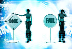3d woman done and fail sign board illustration Stock Photos
