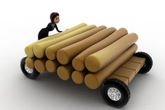 3d woman draw timber on hand truck concept Stock Photo