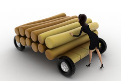 3d woman draw timber on hand truck concept Royalty Free Stock Photo