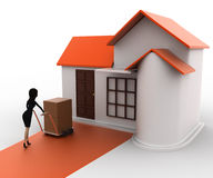 3d woman drive handtruck with box into house concept Royalty Free Stock Photo