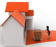 3d woman drive handtruck with box into house concept Royalty Free Stock Images
