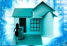 3d woman drive handtruck with box into house illustration Royalty Free Stock Photo