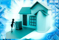 3d woman drive handtruck with box into house illustration Stock Photography