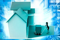 3d woman drive handtruck with box into house illustration Stock Photos