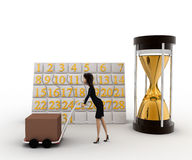 3d woman drive handtruck with calender and sand clock concept Stock Images