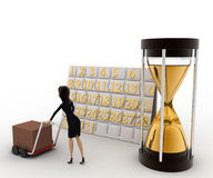 3d woman drive handtruck with calender and sand clock concept Stock Photography