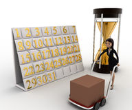 3d woman drive handtruck with calender and sand clock concept Stock Image