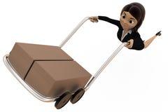 3d woman drive handtruck concept Stock Images