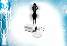 3d woman with drug illustration Stock Photo