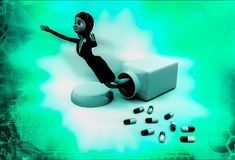 3d woman drug illustration Royalty Free Stock Photography